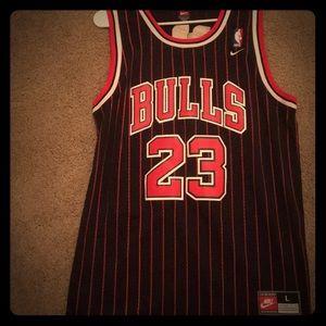 huge discount a8714 1de67 Black & Red pinstripe Michael Jordan jersey